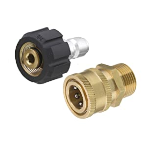 Tool Daily Pressure Washer Adapter Set, Quick Connect Kit, M22 14mm Swivel to M22 Metric Fitting, 5000 PSI