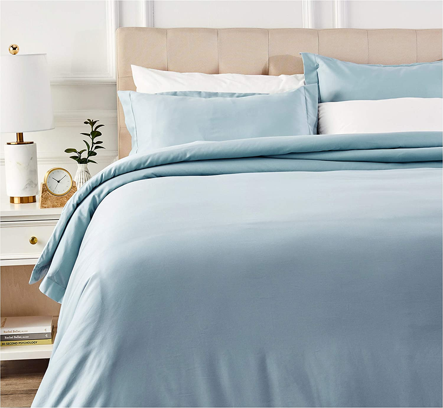 AmazonBasics 400 Thread Count Cotton Duvet Cover Bed Set with Sateen Finish - King, Smoke Blue