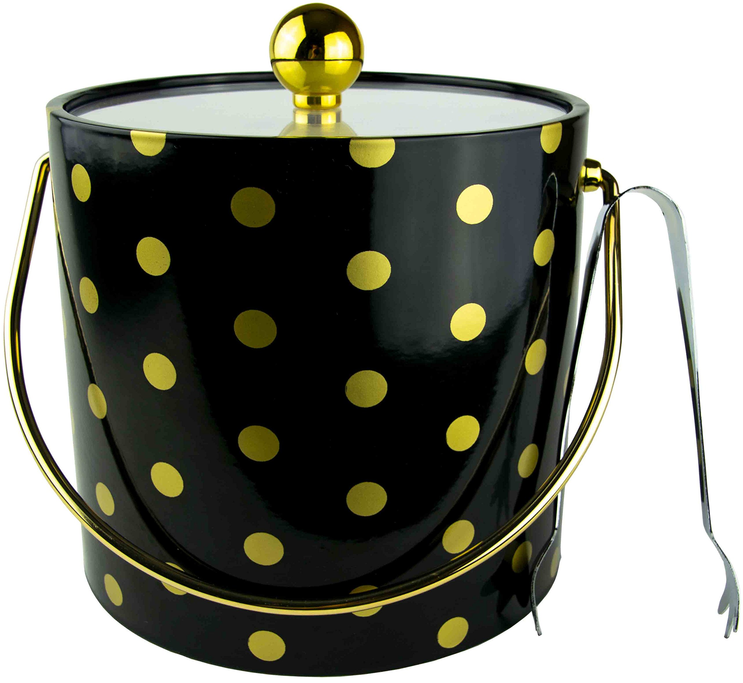 Hand Made In USA Black With Gold Polka Dots Double Walled 3-Quart Insulated Ice Bucket With Bonus Ice Tongs