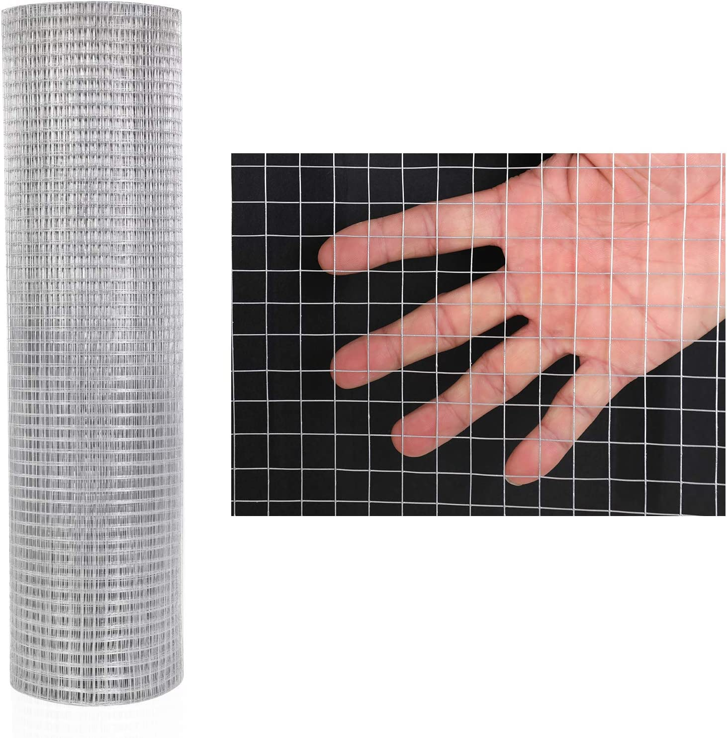 48'' x 50' 1/2 inch Hardware Cloth Galvanized Welded Cage Wire, Poultry Enclosure Plant Supports Doors Window Wire Fence Rabbit Chicken Run Fence (48'' x 50')