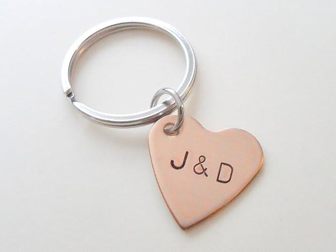 amazon com custom personalized small bronze heart keychain hand