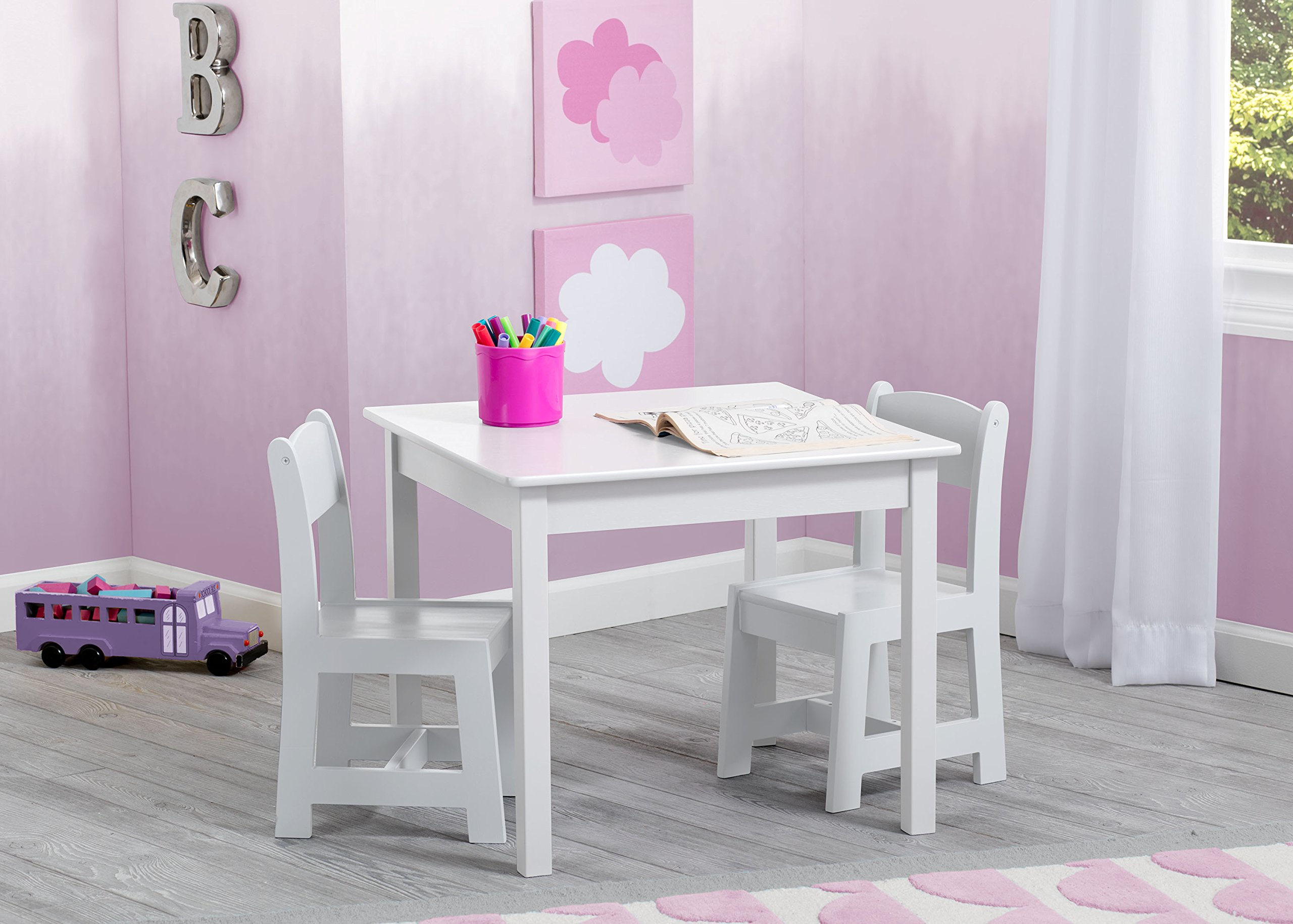 Delta Children MySize Kids Wood Table and Chair Set (2 Chairs Included), Bianca White by Delta Children (Image #2)