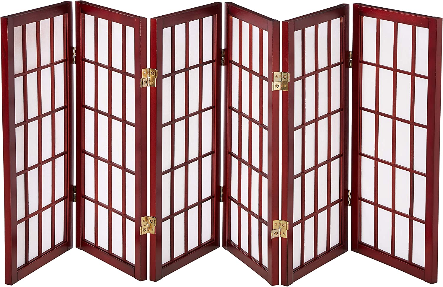 Oriental Furniture 2 ft. Tall Desktop Window Pane Shoji Screen - Rosewood - 6 Panels