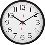 Large Wall Clock Silent & Non-Ticking - Indoor/Outdoor - Modern Quartz Design - Decorative 12-Inch Black Clock - by Utopia Home