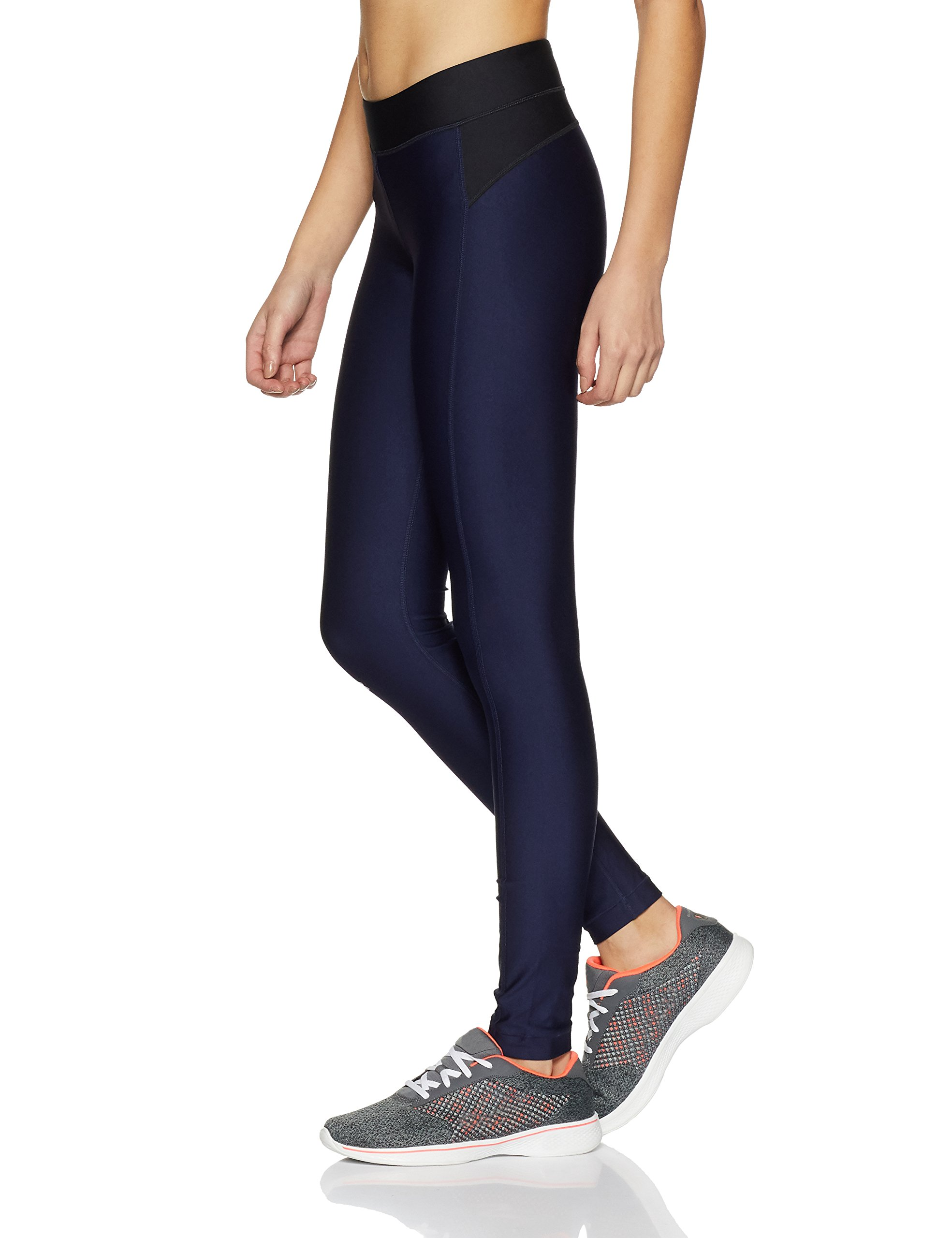 Under Armour Womens Heatgear Armour Leggings, Midnight Navy /Metallic Silver, XX-Large by Under Armour (Image #3)