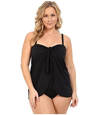 58a97a11433fb Lauren by Ralph Lauren Womens Plus Size Beach Club Solids Flyaway Strapless  One-Piece (