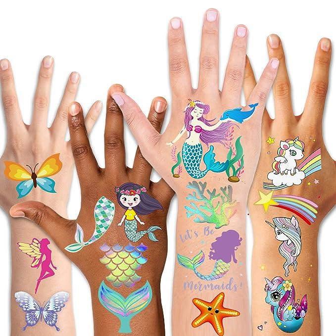 Tatuajes Temporales Ni/ños MMTX 180pcs Sirena Ballena Unicornio Animales Mariposa Flor Impermeables Tatuajes Pegatinas para Ni/ñas Mejores Regalos de Cumplea/ños Fiestas Infantiles 15 Hojas