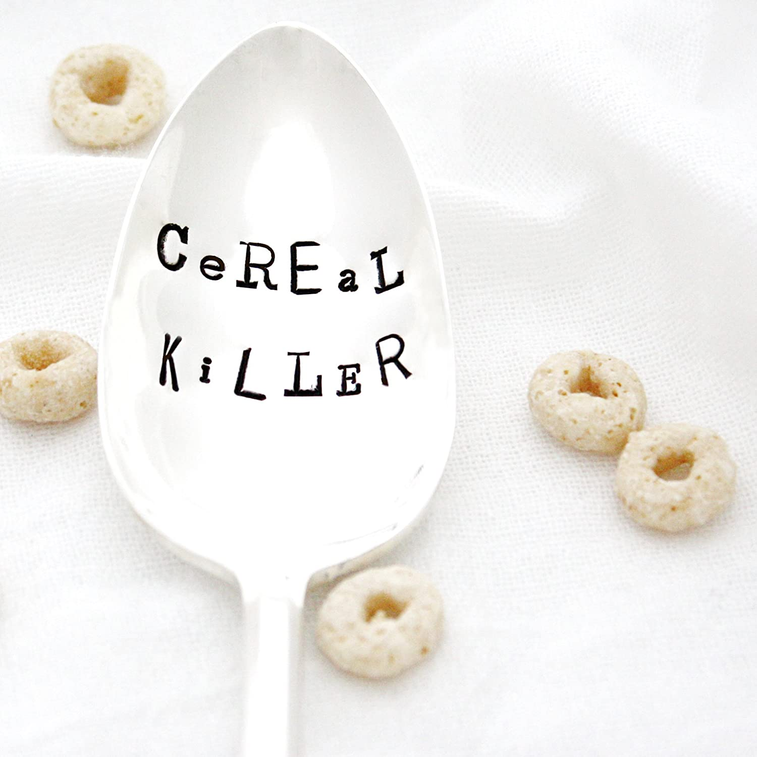 Cereal Killer in Ransom Note Style Lettering, Hand Stamped Vintage Spoon by Milk & Honey.