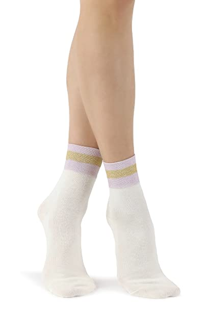 Mixmi Boutique Calcetines tobilleros de algodón retro crema elegante para mujer con rayas de purpurina