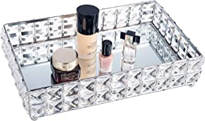 Feyarl Mirrored Crystal Vanity Makeup Tray Large Storage Ornate Jewelry Trinket Tray Bling Cosmetic Perfume Bottle Tray Decorative Skin Care Tray Home Deco Dresser Organizer Tray (Silver)