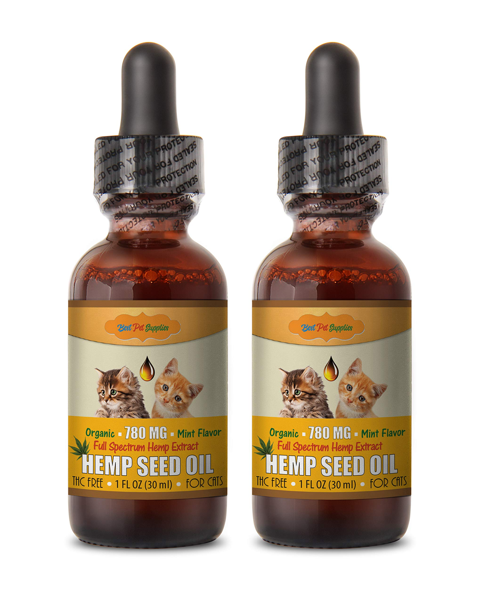 Omega Fatty acids for Cats - CAT Hemp Seed Oil Extract 780MG Drops - with Omega - Natural - Best Anxiety and Pain Relief - cat Vitamins Omega 3-2 Bottles (60 ML) by BEST PET SUPPLIES LLC