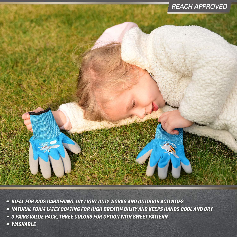 per bambini di 3-5 anni guanti da lavoro per con rivestimento in lattice naturale schiumato Vgo 3 paia KID-XXXS, Viola /& Verde /& Blu con stampa ape, KID-RB6013 guanti da giardinaggio