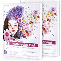 Watercolour Paper Pad Sketchbooks, Ohuhu Set of 2 Extra-Heavyweight 300 GSM 36 Sheets/72 Pages Papers, 229 x 305mm Glue…
