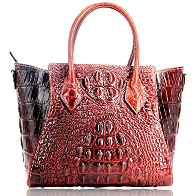 5194a6487d Amazon.com  Genuine Cow Leather Handbags With Crocodile Embossed Effect for  Women Designer Top Tote Purses Top Handle Bag Shoulder Bag  Shoes