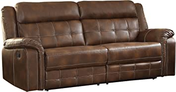 "Homelegance Keridge 85"" Leath-Aire Reclining Sofa, Brown"