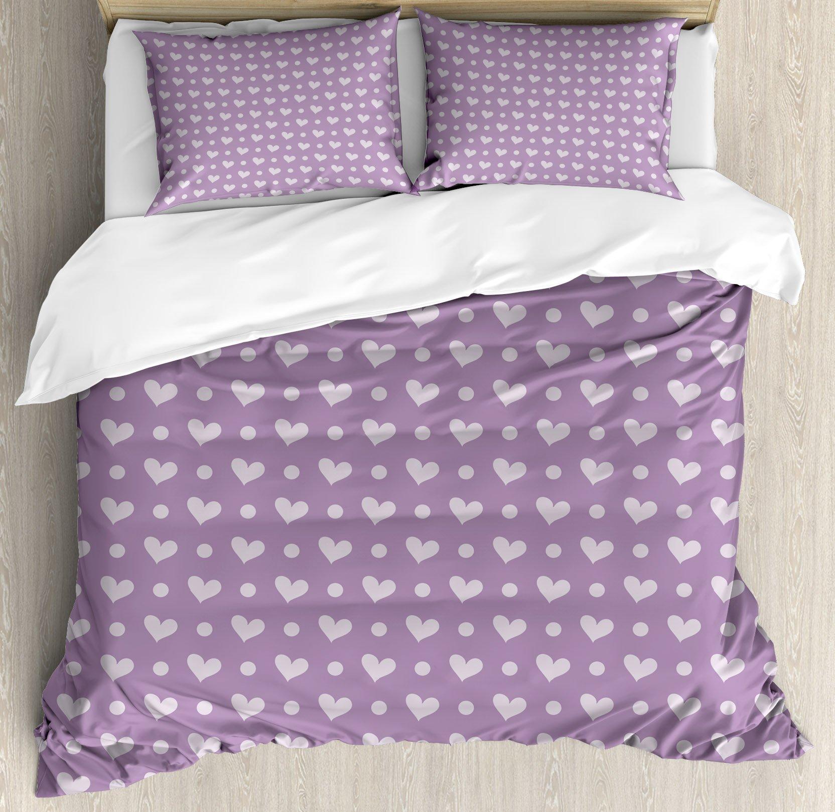 Ambesonne Purple Duvet Cover Set King Size, Love Valentine's Day Couple Wedding Bride Inspiring Heart Icon Design Image, Decorative 3 Piece Bedding Set with 2 Pillow Shams, Lavander and Purple