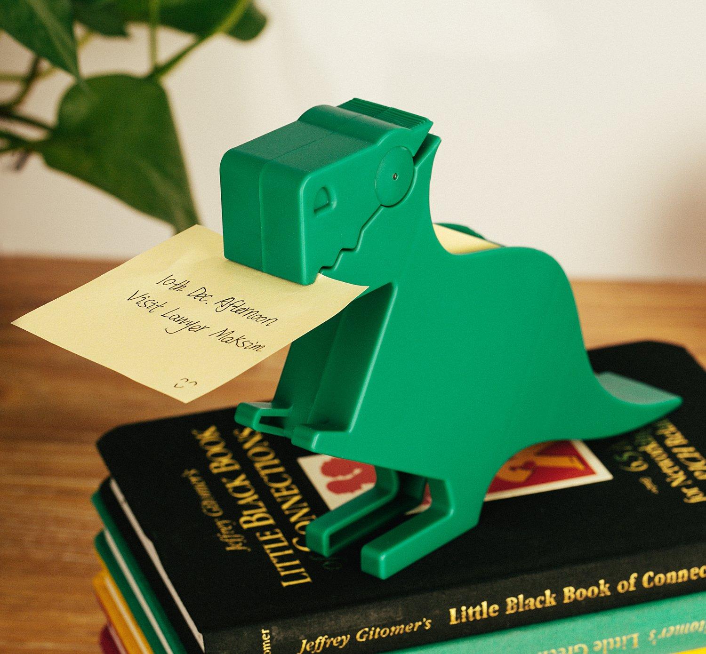 Memo Holder Desktop Note pad Dispenser Dinosaur Pen Holder Multi-Functional Clip for Note Short Note pad,2 Packs memo (Dinosaur, Green)