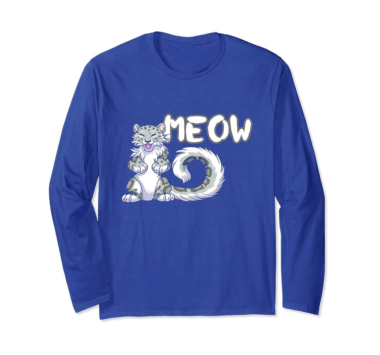 Cat Long Sleeve Tshirt Snow Leopard Meow For Man Woman-AZP