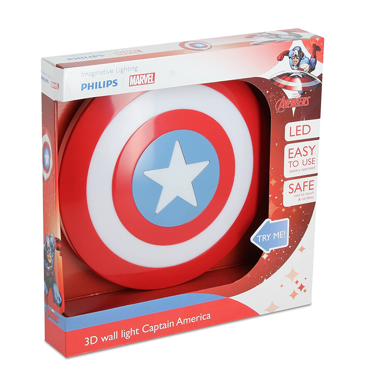 863fcc6dc Philips Marvel Captain America Shield 3D LED Wall Light Including 3AA  Batteries