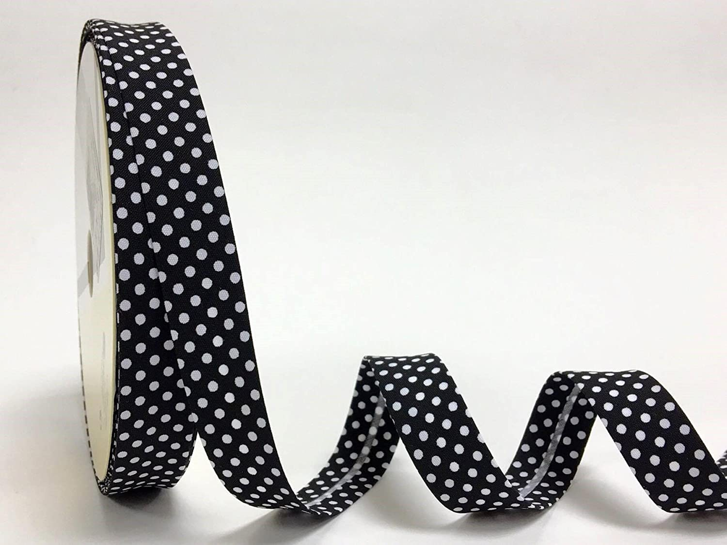 Black Polka Dot 18mm Bias Binding by Fany on a 3m Length (N.B. this is a cut from a roll) 7480-1-3m