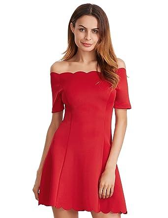 611a14f53c3 ROMWE Robe Dentelles Epaules dénudées Robe de soirée Femme d été Manches  Courts Rouge