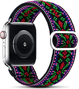 WANLISS Adjustable Elastic Watch Band Compatible with Apple Watch Band 38mm 40mm 42mm 44mm, Pattern Soft Elastics Stretchy Loop Women Men Replacement Wristband for Iwatch Series 6/5/4/3/2/1