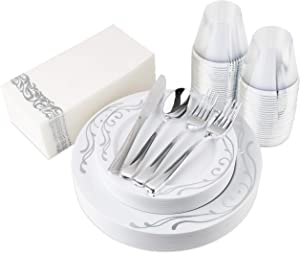 200-Piece Plastic Plates, Plastic Cutlery, Rimmed Plastic Cups and Guest Towels - Service for 25 Guests Elegant Disposable Dinnerware Set for Wedding, Party, Thanksgiving, Holiday (Silver Scroll)