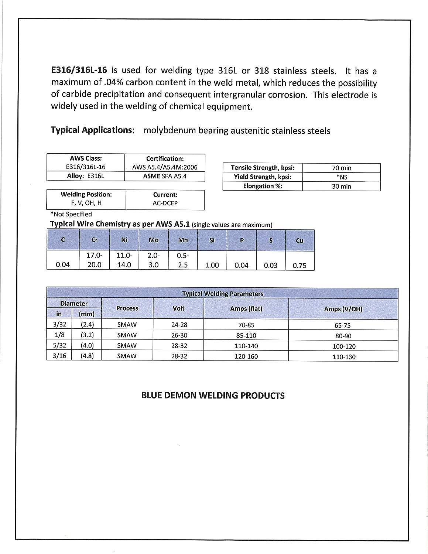 Blue Demon E316L X 3//32 X 14 X 1LB Tube Stainless Steel Arc Welding Electrode