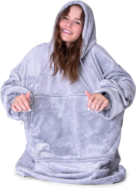 Reluxie All Seasons Oversized Hoodie Blanket Sweatshirt Ultra Soft Men /& Kids Gray One Size Fits All Sherpa Blanket Hoodie for Women