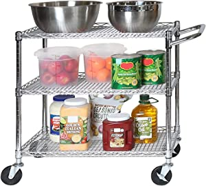 Seville Classics 3-Tier UltraDurable Commerical-Grade Heavy-Duty NSF-Certified Service Utility Storage Cart, 34