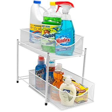 Sorbus 2 Tier Organizer Baskets with Mesh Sliding Drawers, Ideal Cabinet, Countertop, Pantry, Under the Sink, and Desktop Organizer for Bathroom, Kitchen, Office. Made of Steel (White)