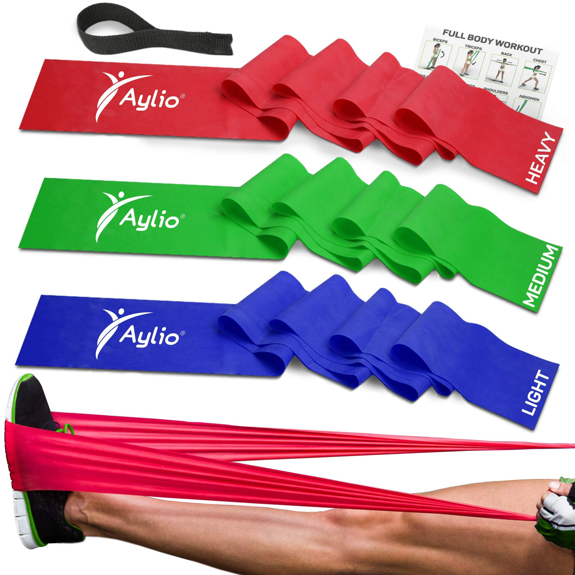 Premium Exercise Bands and Door Anchor | Fitness, Physical Therapy, Pilates Workout, Stretch | 6 Feet Long by Aylio