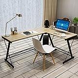 Soges L-Shaped Desk Computer Desk Multifunctional Computer Table Workstation, Beige SC1-T-N