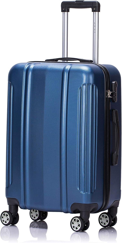 LYS - Maleta de Cabina Avion 55cm Ultraligero con 2 Asas de Transporte y Bolsillos pequeños Dentro del ABS Equipaje de Mano rígido Resistente para Ryanair, Easyjet, Lufthansa (Azul)