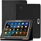"""YELLYOUTH 10.1 inch Android Tablet Case,DETUOSI PU Leather Folio Cover Compatible with Yuntab 10.1 (K107/K17),Plum 10"""" Phable"""