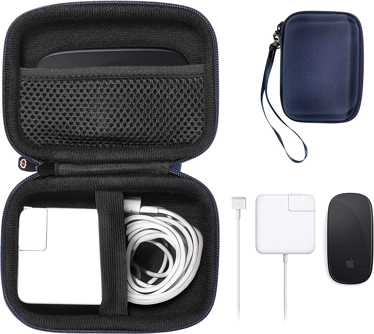 GETGEAR MacBook Accessories case for MacBook Magsafe/Magsafe 2, Magic Mouse 1, 2 and USB Hub, Mini All in one Carrying Solution (Rose Gold) (Blue)