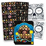 Disney Pixar COCO Stickers Party Favors Set -- Box of 225 Coco Stickers and 2 Day of the Dead Face Tattoos (Coco Party Supplies)