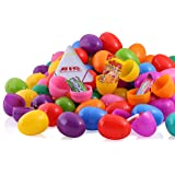 50 Candy filled Easter eggs, surprise eggs filled with Easter candies, 50 pack great for Easter eggs school hunt, Surprise Eggs Hinged Together
