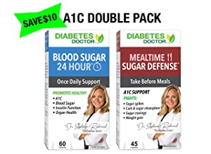 Diabetes Doctor A1C Bundle Pack - 24 Hour Daily Support & Mealtime Sugar Defense - Insulin & Weight Loss Support - 1 Month Supply