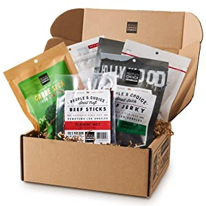 People's Choice Beef Jerky - Jerky Box - Some Like It Hot - Unique Gift for Men - Protein Snacks Military Care Package - Best Father's Day Gifts for Him - Meat Snack Sampler Gift Basket - 6 Bags