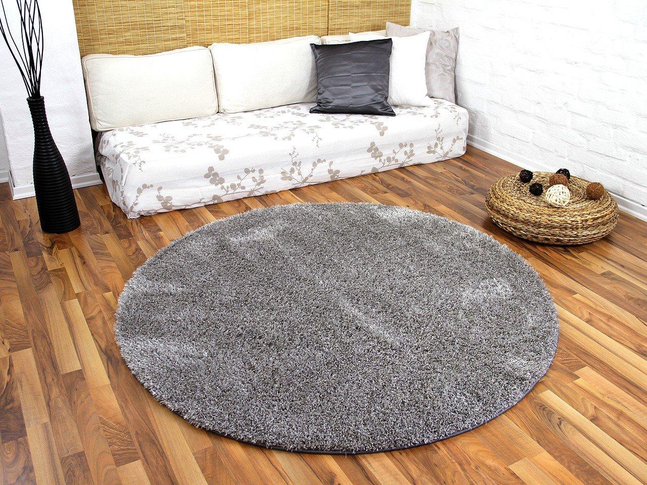 Hochflor Shaggy Teppich Luxus Feeling Mix Silber Rund in 7 Größen B00E3IOFTC Teppiche