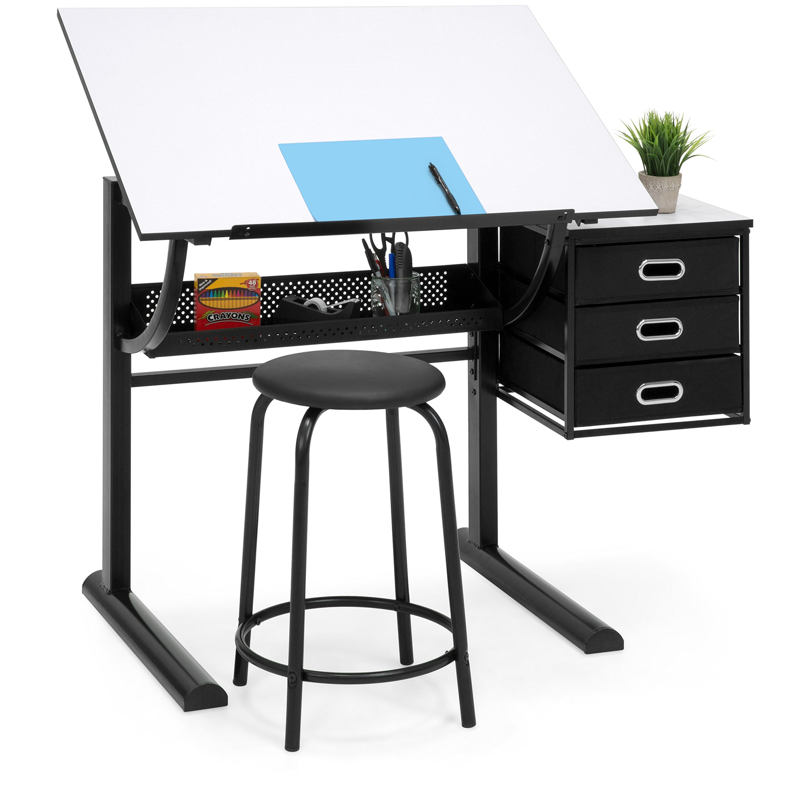 Best Choice Products Drawing Drafting Craft Art Table Folding Adjustable Desk w/Stool - Black/White by Best Choice Products