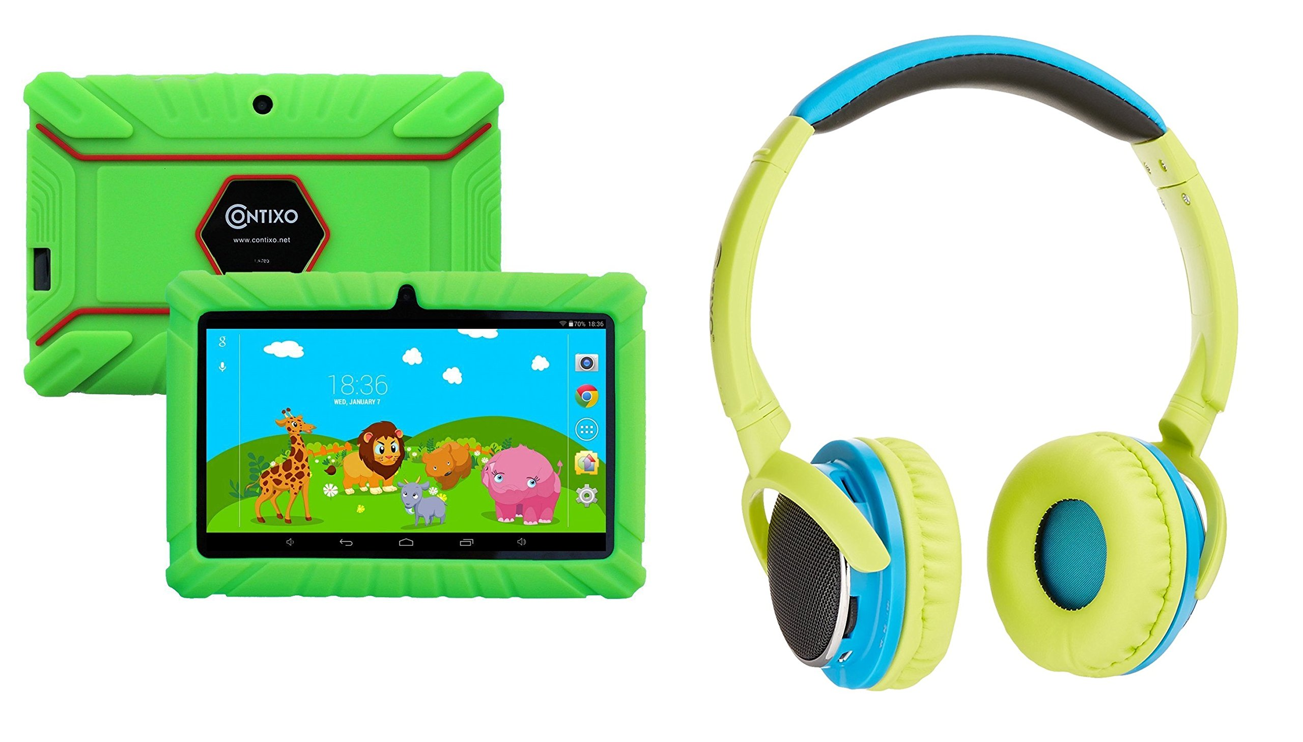 Contixo 7'' Educational Learning Kids Tablet 8gb & Kid Safe 85db Bluetooth Over The Ear Headphones Bundle (Green) - Best Gift