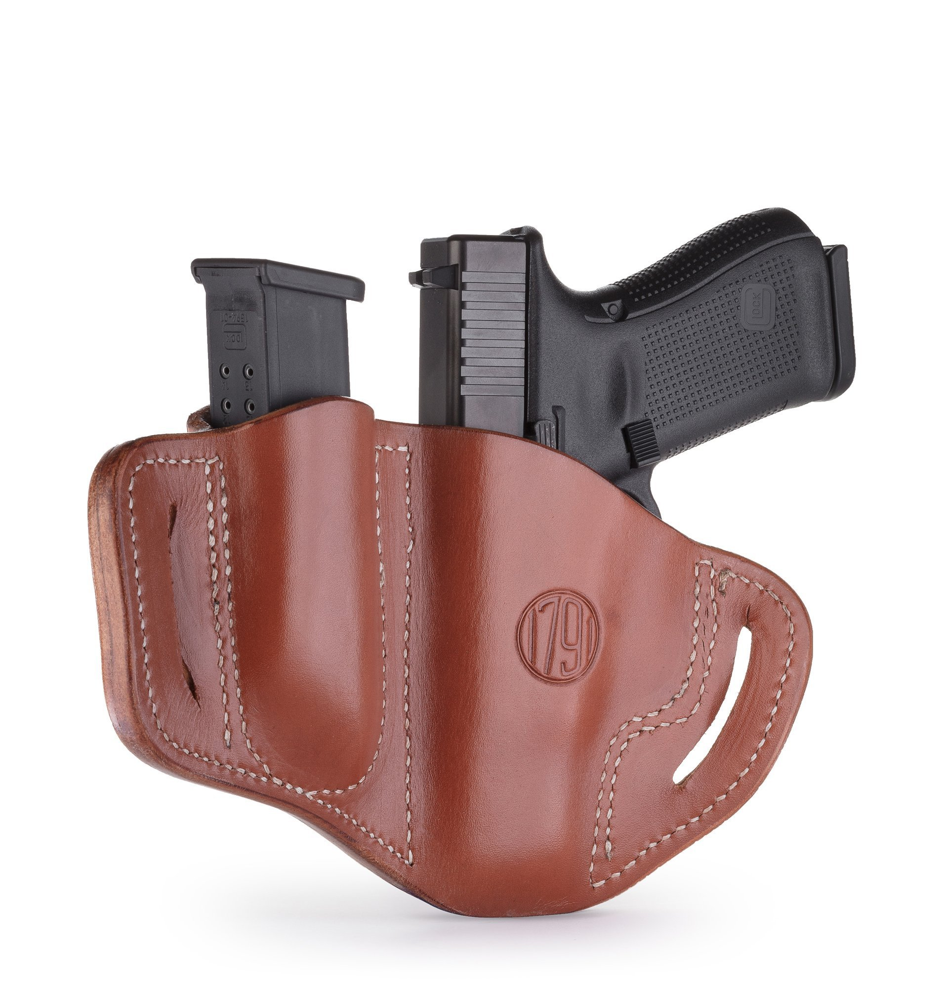 1791 GUNLEATHER Glock 19 Holster - Right Hand OWB G19 Leather Holster for Belts - Fits Glock 19, 23, 26, 27, H&K VP40 and Springfield XDS (BH2.1) (Combo Classic Brown) by 1791 GUNLEATHER (Image #2)