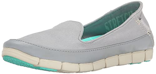5377b91a3 crocs Women s Stretch Sole Skimmer W Light Grey and Stucco Canvas Sneakers  - W5