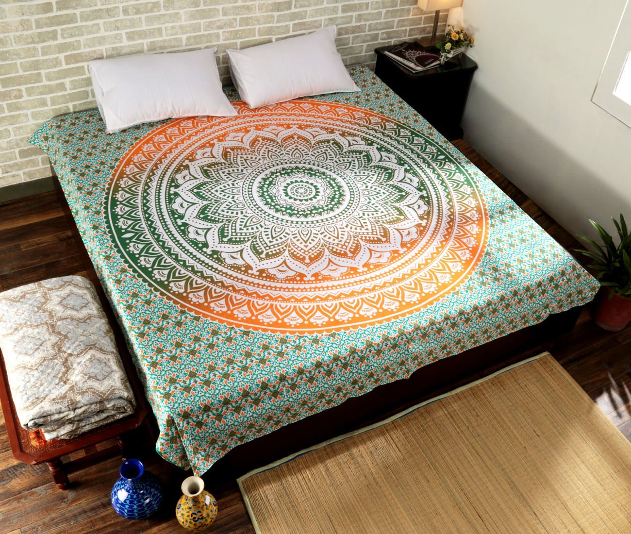 HANDICRAFTOFPINKCITY Ombre Mandala Duvet Cover Throw Handmade Reversible Quilt Cover Indian Bedding Doona Blanket Cover With 2pc Pillow Cover