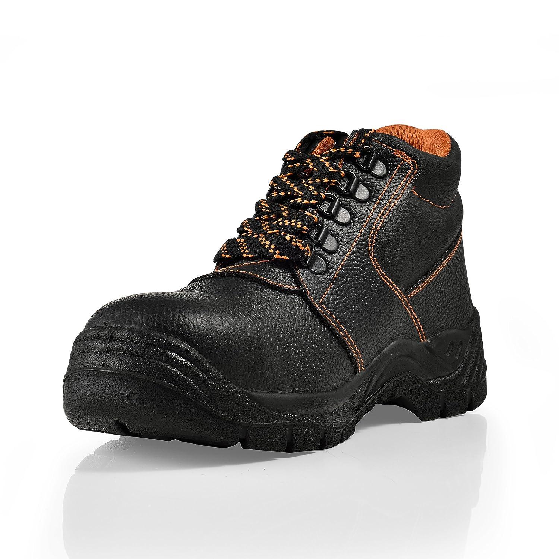 [pro.tec] Botas de Seguridad - 43 - S3 - hidrofugadas - con Puntera de Acero - Botas cómodas para Trabajar - Calzado de Seguridad - Negro/Naranja: ...