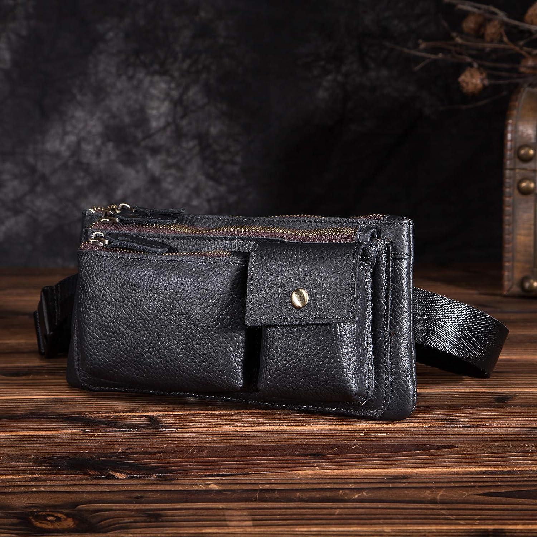 B8136 Black Leaokuu Mens Genuine Leather Brown Travel Sling Bag Hip Bum Fanny Belt Waist Pack bag Phone Pouch 811-29