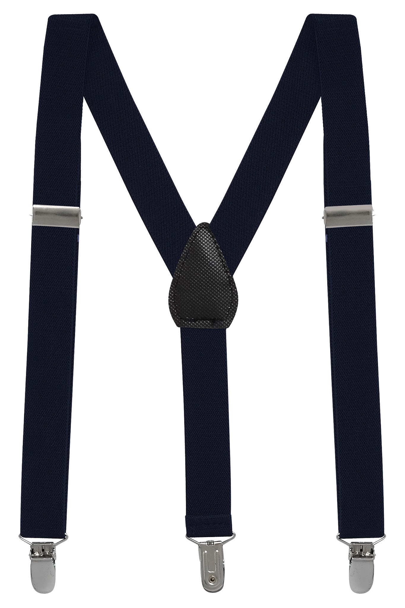 Buyless Fashion Kids And Baby Adjustable Elastic Solid Color 1 inch Suspenders - Navy - Size 30