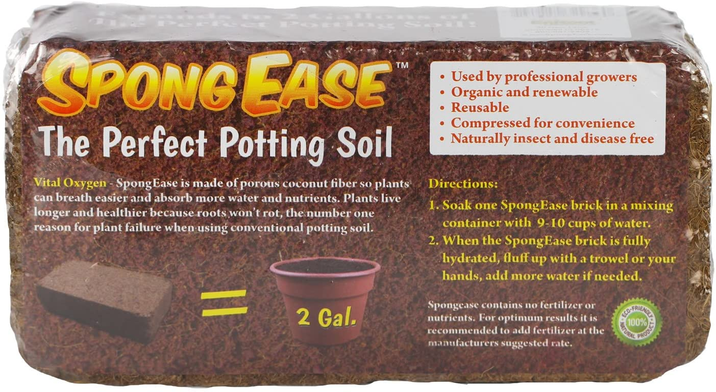 SpongEase Pro Coco Coir Brick - Each brick makes 2 Gallons Organic Coco Coir Potting Soil for All Plants, Cuttings, Seedlings and Seeds (650 gm)